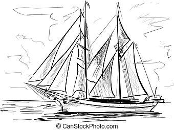 tenger, hajó, vitorlázás