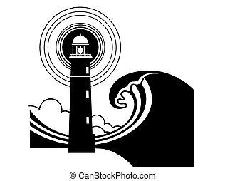 tenger, hatalmas, waves., világítótorony, grafikus, poszter