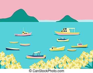 tenger, különféle, lesiklik, poster., kék, jacht, hegy., vitorlázik, kilátás, poszter, csónakázik, vektor, seaside., tengerpart, retro, szüret