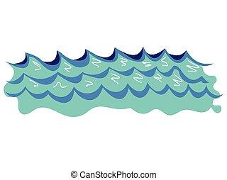 tenger, lenget, ábra, vektor