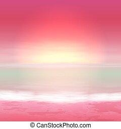 tenger, perple, sunset., tropikus, háttér.