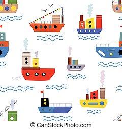 tenger, seamless, motívum, noha, csónakázik, és, hajó