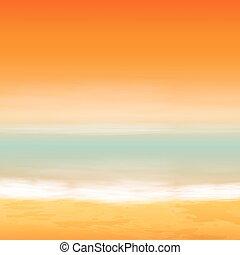 tenger, sunset., tropikus, háttér.