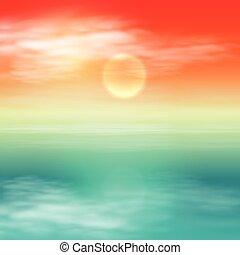 tenger, sunset., tropikus, nyár, háttér.