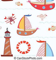 tenger, utazás, seamless, motívum, helyett, gyerekek