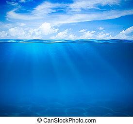 tenger, vagy, óceán víz, felszín, és, víz alatti