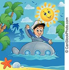 tengeralattjáró, 3, téma, kép, tengerész
