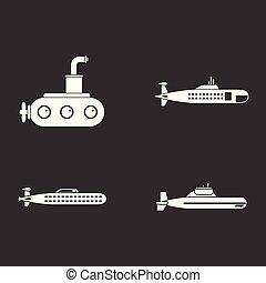 tengeralattjáró, vektor, állhatatos, szürke, ikon
