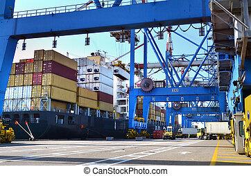 tengeri kikötő, rakomány, -, hajózás, rakomány