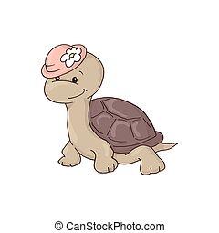 tengeri teknős, csinos, flower., bájos, leány, kalap, karikatúra