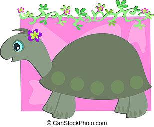 tengeri teknős, floral szőlőtőke, szürke