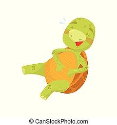 tengeri teknős, furcsa, hüllő, övé, barna, böllér, könyv, lakás, gyerekek, belly., vektor, zöld, loudly, birtok, nyomtat, shell., vagy, nevető