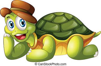tengeri teknős, lefelé, mosolygós, fekvő