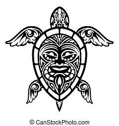 tengeri teknős, tetovál, feláll, vektor, polinéziai, becsuk