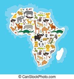 tengeri teknős, teve, krokodil, zebra, mámba kígyó, fennec, víziló, africa:, majom, tsetse, róka, penguin., orrszarvú, állat, elefánt, kaméleon, leopárd, oroszlán, zsiráf, kígyó, papagáj, makimajom, strucc, hiéna, vektor, moszkitó, bivaly
