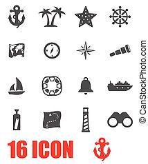 tengeri, vektor, állhatatos, szürke, ikon
