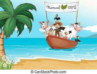 tengerpart, állatok, csónakázik