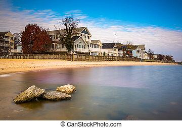 tengerpart, észak, épület, chesapeake öböl, hintáztatni, maryland., waterfront