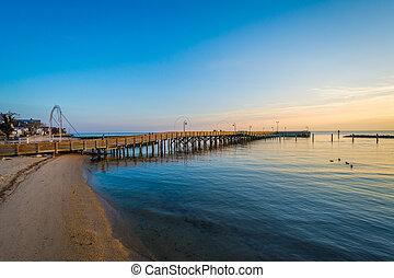 tengerpart, észak, chesapeake öböl, maryland., halászat, napkelte, móló