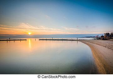 tengerpart, észak, chesapeake, hosszú csaholás, maryland., napkelte, kitevés