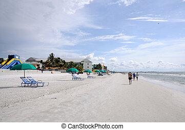 tengerpart, öböl, mexikó, florida, lesiklik, myers, erőd
