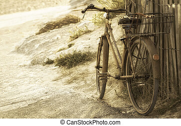 tengerpart, öreg bicikli