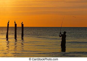 tengerpart, övé, öntvény, öböl, mexikó, -, florida, halász, napnyugta, egyenes, myers, erőd