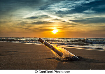 tengerpart, ősi, üzenet, palack, tenger