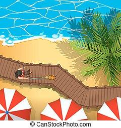 tengerpart, antenna, kilátás, színhely