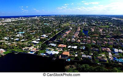 tengerpart, antenna, nyugat, florida, pálma, kilátás