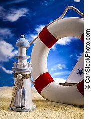 tengerpart, bója, élet