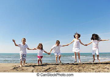 tengerpart, boldog, csoport, játék, gyermek
