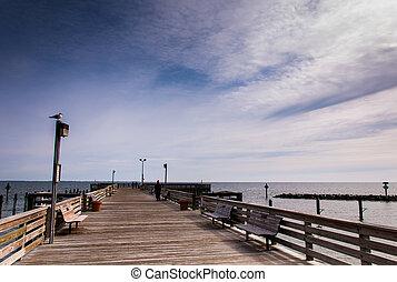 tengerpart, chesapeake öböl, halászat, mentén, móló