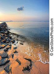 tengerpart, chesapeake, napnyugta, móló, öböl