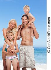 tengerpart, család, boldog