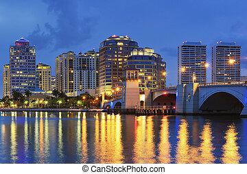 tengerpart, egyesült, florida, nyugat, egyesült államok, pálma