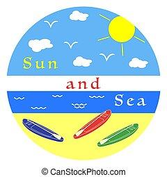 tengerpart, elhomályosul, csónakázik, nap, tenger, oars.