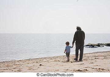 tengerpart, fiúunoka, grandad