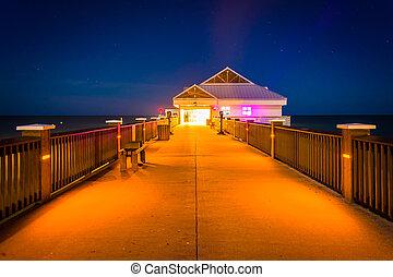 tengerpart, florida., éjszaka, clearwater, halfajták stég