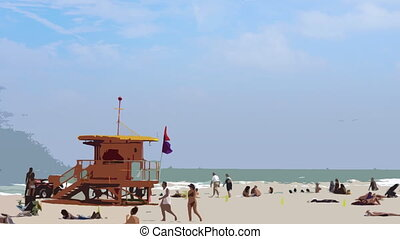 tengerpart, florida, miami, déli