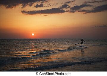 tengerpart, florida, napnyugta, kulcs, délutáni pihenő