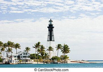 tengerpart, florida, usa, pompano, hillsboro, világítótorony