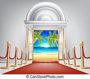 tengerpart, fogalom, ajtó