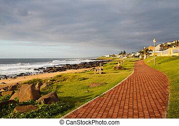 tengerpart, gyalogos, út