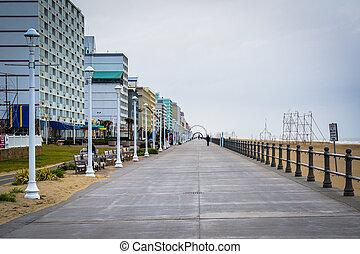 tengerpart, highrise, virginia., virginia, sétány, szálloda
