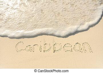 tengerpart homok, caribbean, írott
