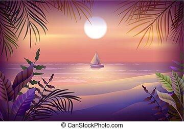 tengerpart, island., vitorlás hajó, bitófák, tropikus, pálma, tenger, éjszaka, táj
