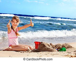 tengerpart., játék, gyermek