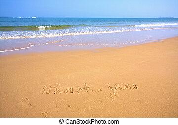 tengerpart, kék ég, lenget, homok, gyönyörű