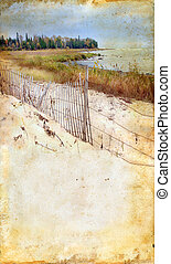 tengerpart, képben látható, egy, grunge, háttér
